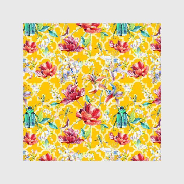 Шторы «Цветочный паттерн на желтом фоне»