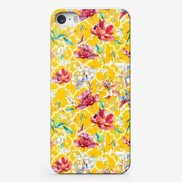 Чехол iPhone «Цветочный паттерн на желтом фоне»
