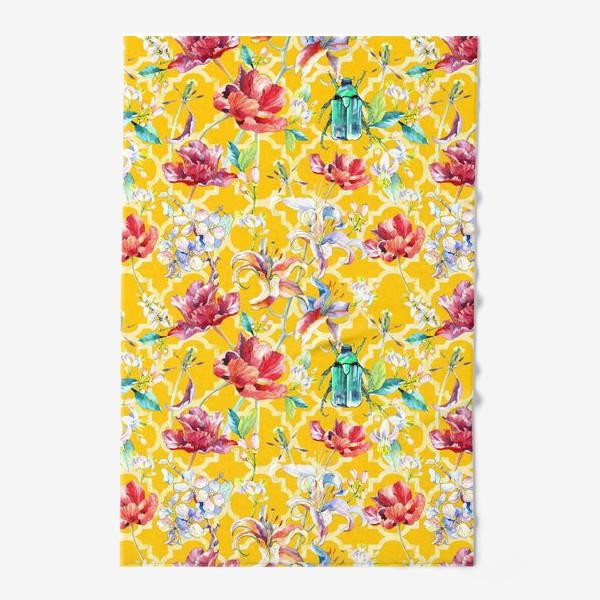 Полотенце «Цветочный паттерн на желтом фоне»