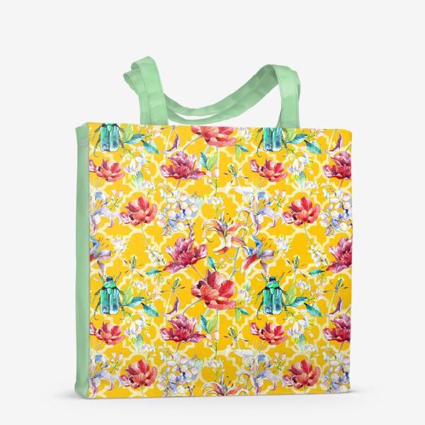 Сумка-шоппер «Цветочный паттерн на желтом фоне»
