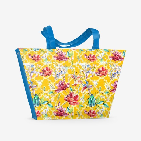 Пляжная сумка «Цветочный паттерн на желтом фоне»