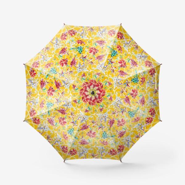 Зонт «Цветочный паттерн на желтом фоне»