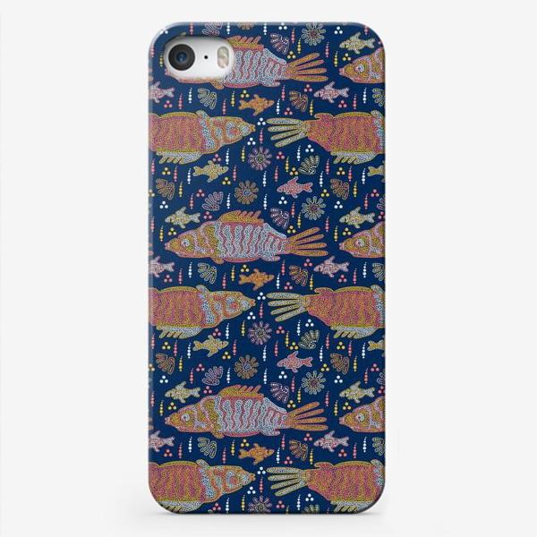 Чехол iPhone «Рыбы и ракушки в ночной реке. Australian Aboriginal art»