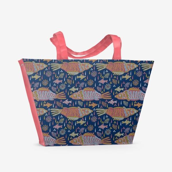 Пляжная сумка «Рыбы и ракушки в ночной реке. Australian Aboriginal art»