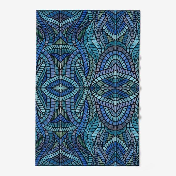 Полотенце «Голубая геометрическая мозаика Ар нуво»