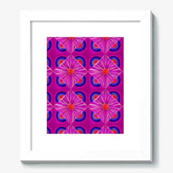 Картина «Ярко-розовый узор с синими элементами и неоновым эффектом»