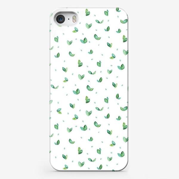 Чехол iPhone «Много-много листиков (весна, паттерн)»