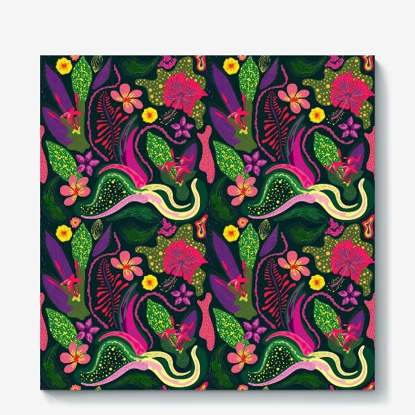 Холст «Цветы и растения острова Занзибар, паттерн»