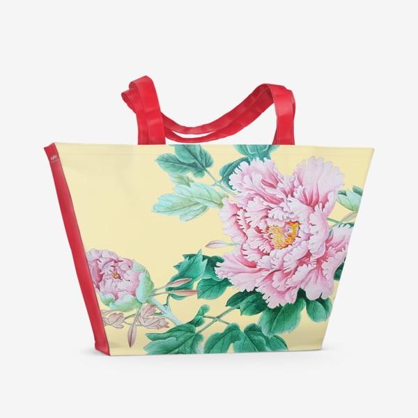 Пляжная сумка «Пионы в японском стиле»