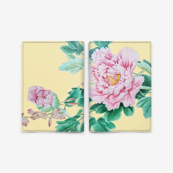 Обложка для паспорта «Пионы в японском стиле»