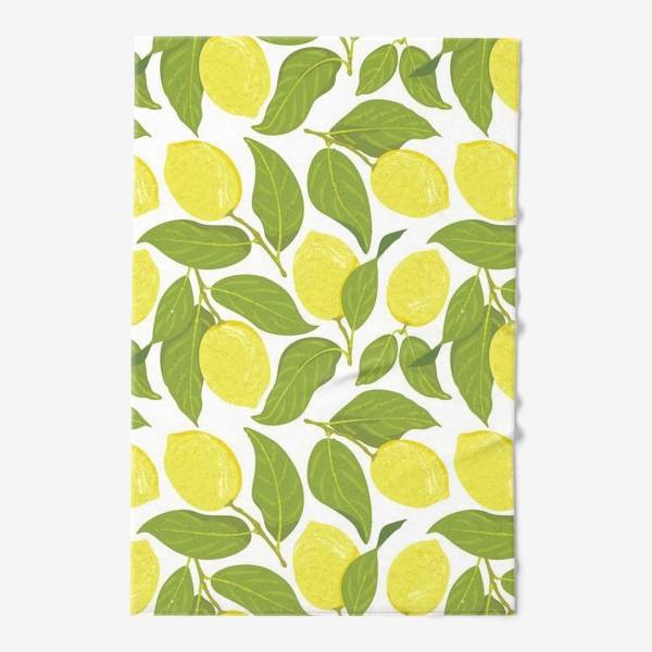 Полотенце «Желтые лимоны на ветке с зелеными листьями, паттерн»