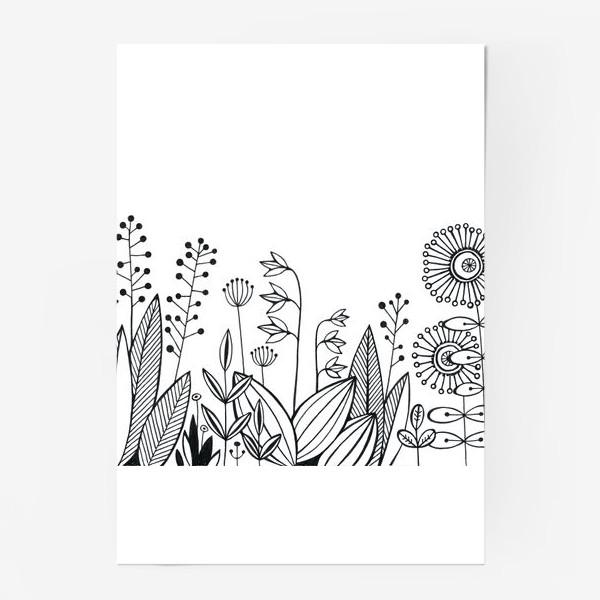 Постер «графика цветы»