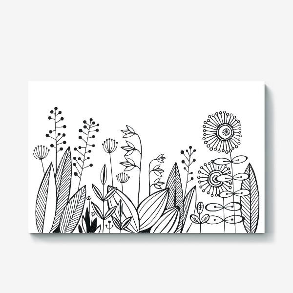 Холст «графика цветы»