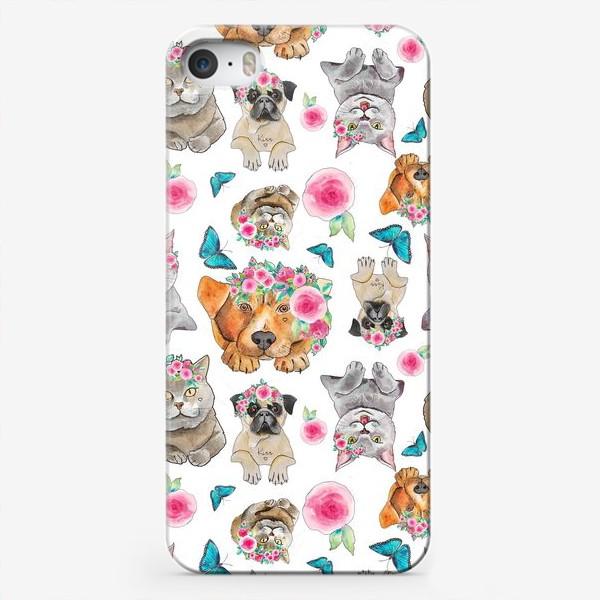 "Чехол iPhone «Паттерн ""Кошки против собак""»"
