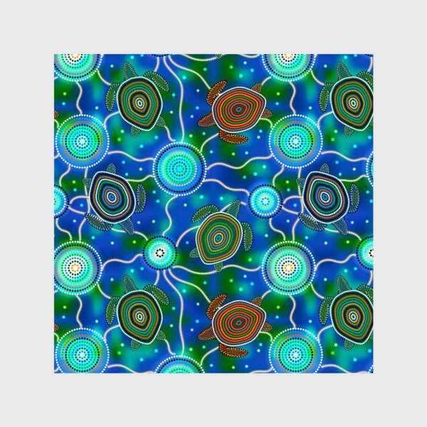 Шторы «Черепашки и медузы. Australian Aboriginal Art»