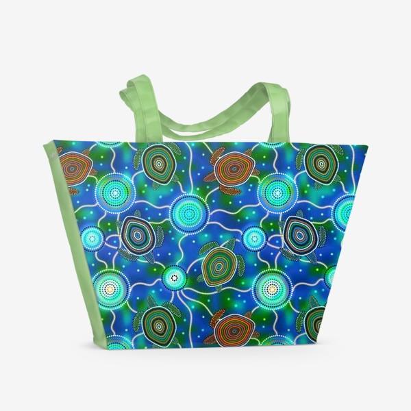Пляжная сумка «Черепашки и медузы. Australian Aboriginal Art»