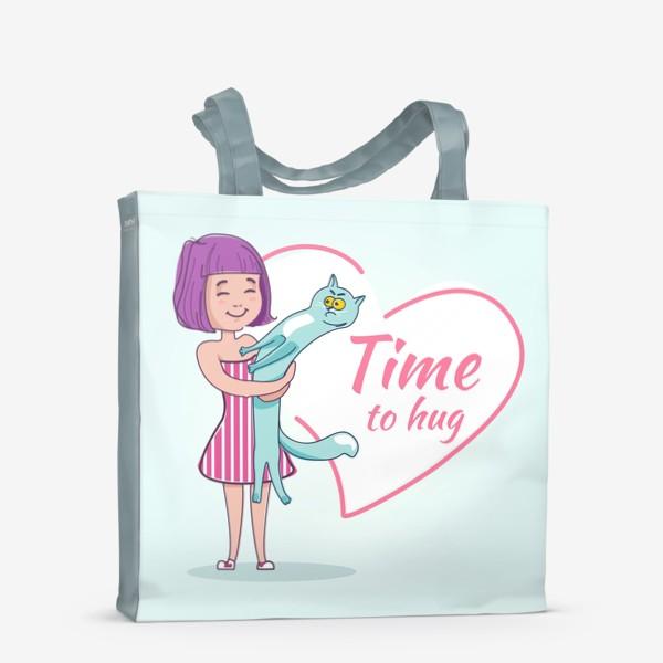 Сумка-шоппер «Девочка обнимает кота»