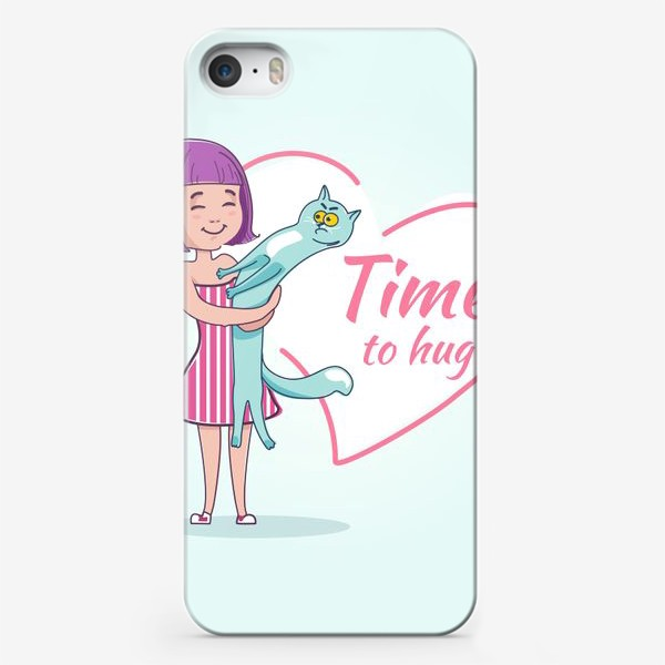 Чехол iPhone «Девочка обнимает кота»