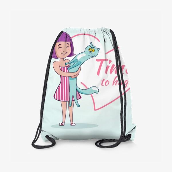Рюкзак «Девочка обнимает кота»
