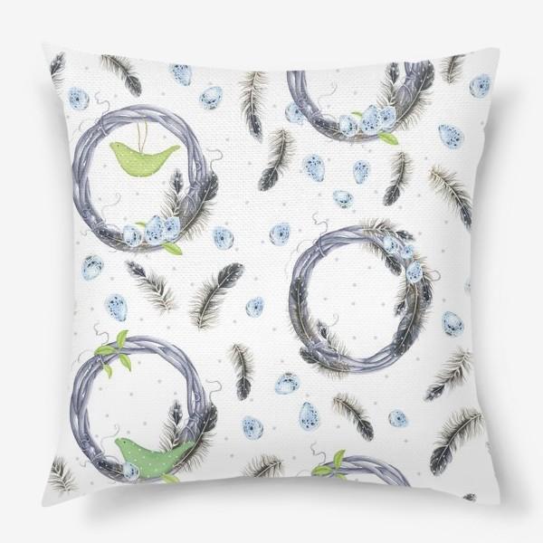 Подушка «Весенний принт с перьями»