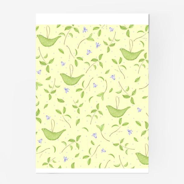 Постер «Весенний принт с текстильными птичками»