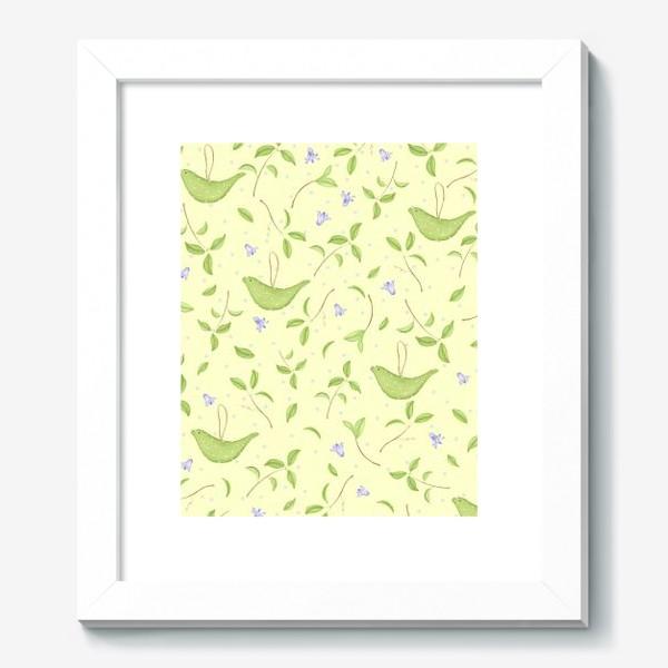 Картина «Весенний принт с текстильными птичками»