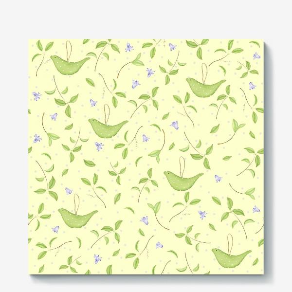 Холст «Весенний принт с текстильными птичками»