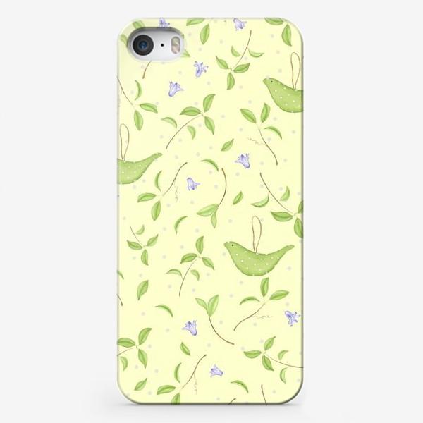 Чехол iPhone «Весенний принт с текстильными птичками»