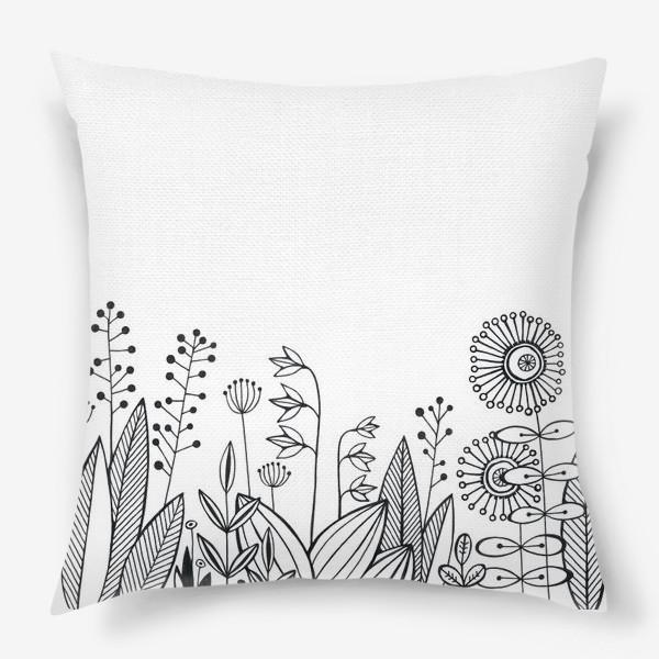 Подушка «графика цветы»