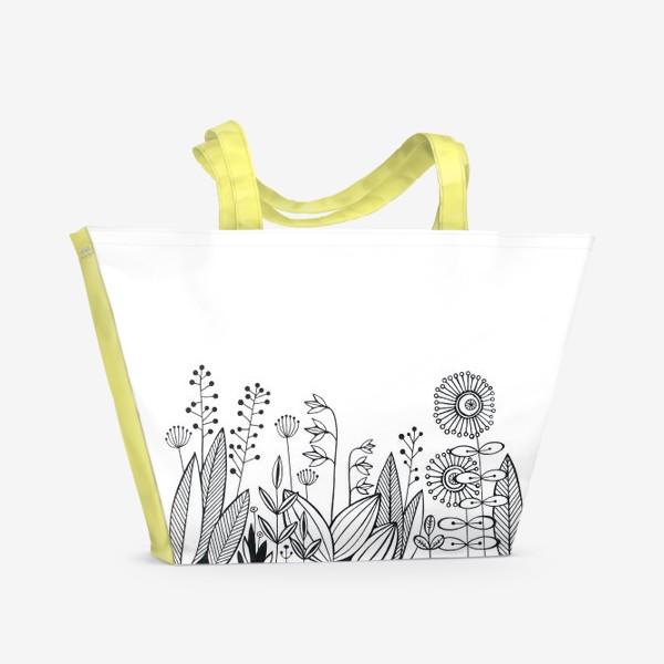 Пляжная сумка «графика цветы»