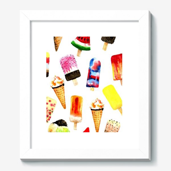 Картина «Watercolor different  ice cream on white background. Summer dessert. Seamless pattern.»