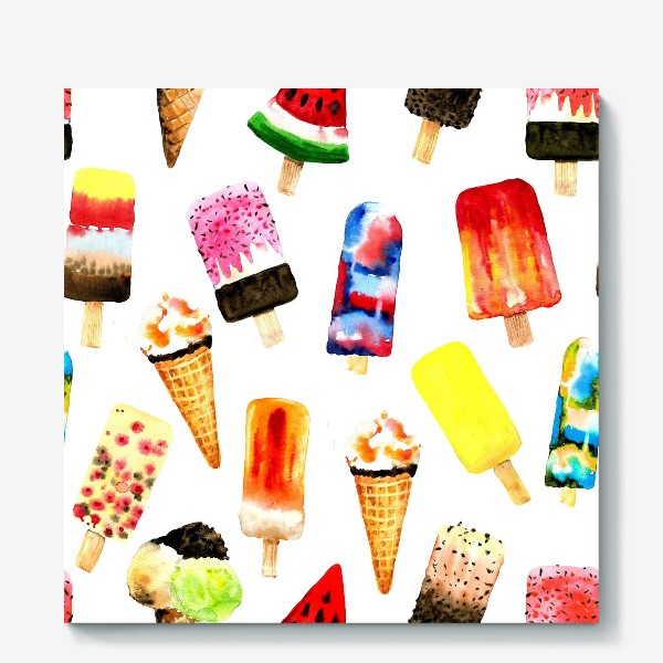 Холст «Watercolor different  ice cream on white background. Summer dessert. Seamless pattern.»