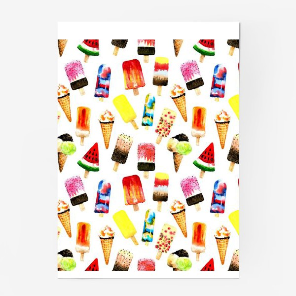 Постер «Watercolor different  ice cream on white background. Summer dessert. Seamless pattern»