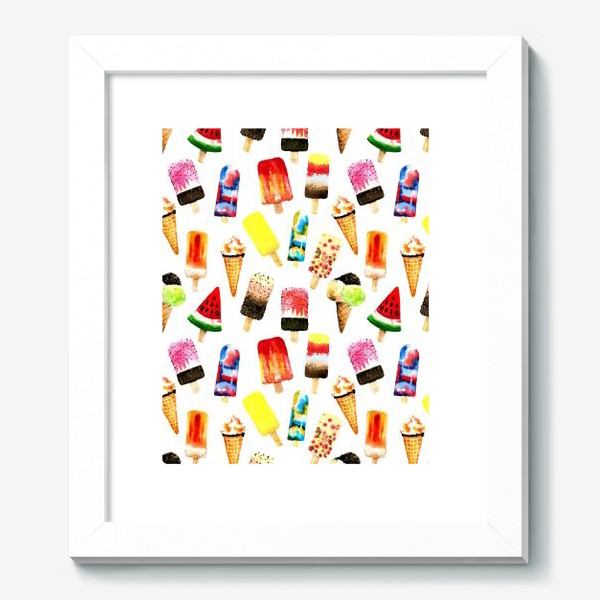 Картина «Watercolor different  ice cream on white background. Summer dessert. Seamless pattern»