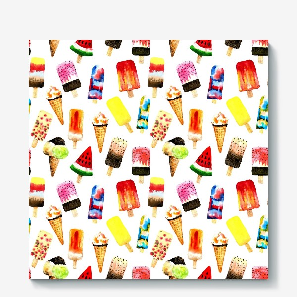Холст «Watercolor different  ice cream on white background. Summer dessert. Seamless pattern»