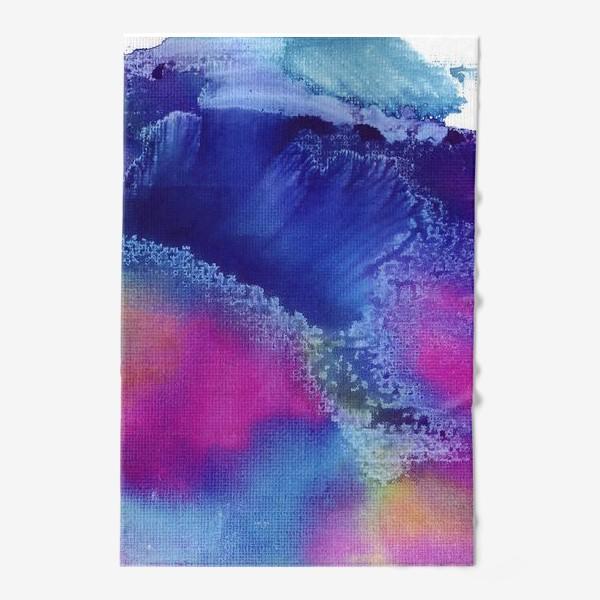 Полотенце «Акварельная абстракция, синий и розовый»