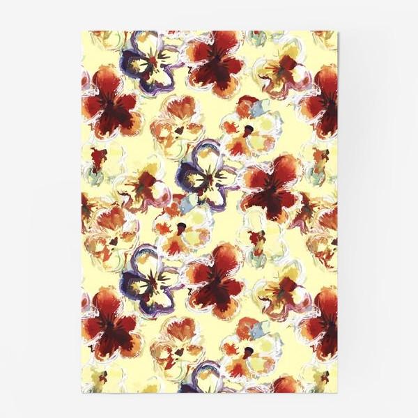 Постер «Цветы. Анютины глазки акварелью.»