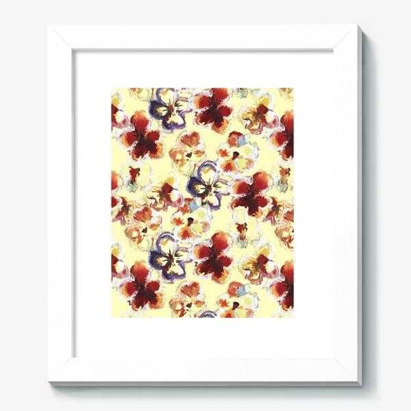 Картина «Цветы. Анютины глазки акварелью.»