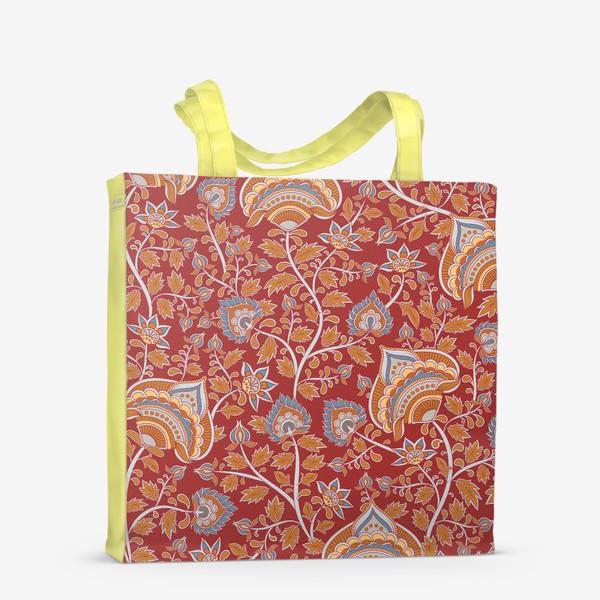 Сумка-шоппер «Цветочный паттерн на красном фоне. Восточный орнамент.»