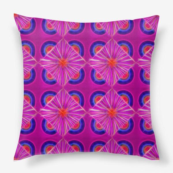 Подушка «Ярко-розовый узор с синими элементами и неоновым эффектом»