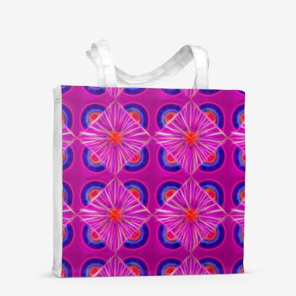 Сумка-шоппер «Ярко-розовый узор с синими элементами и неоновым эффектом»