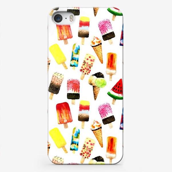 Чехол iPhone «Watercolor different  ice cream on white background. Summer dessert. Seamless pattern»