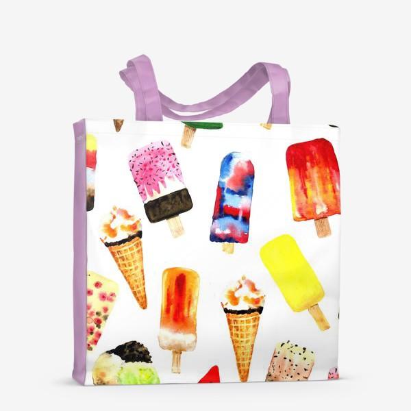 Сумка-шоппер «Watercolor different  ice cream on white background. Summer dessert. Seamless pattern.»