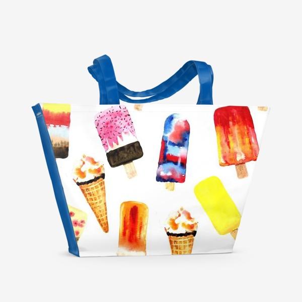 Пляжная сумка «Watercolor different  ice cream on white background. Summer dessert. Seamless pattern.»