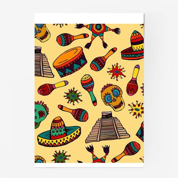 Постер «Пестрый узор с мексиканскими мотивами - шляпой, веселыми черепами и барабаном»