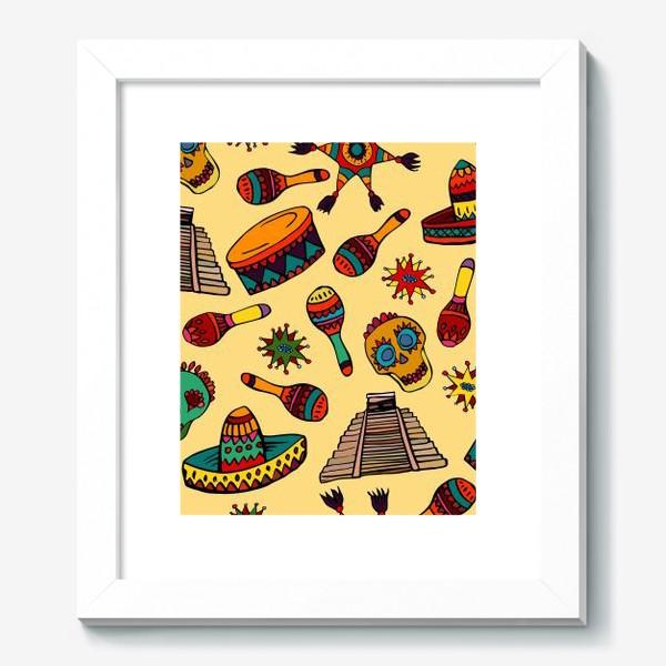 Картина «Пестрый узор с мексиканскими мотивами - шляпой, веселыми черепами и барабаном»