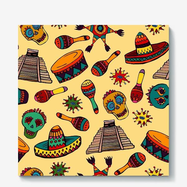 Холст «Пестрый узор с мексиканскими мотивами - шляпой, веселыми черепами и барабаном»
