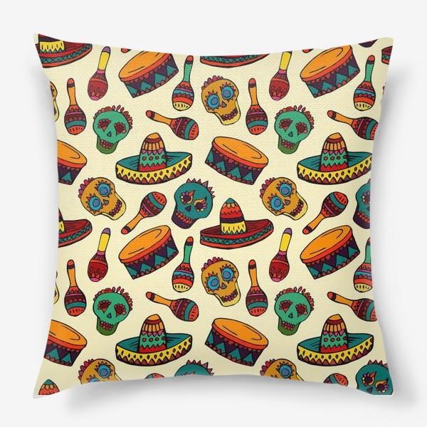Подушка «Пестрый узор с мексиканскими мотивами - шляпой, веселыми черепами и барабаном»