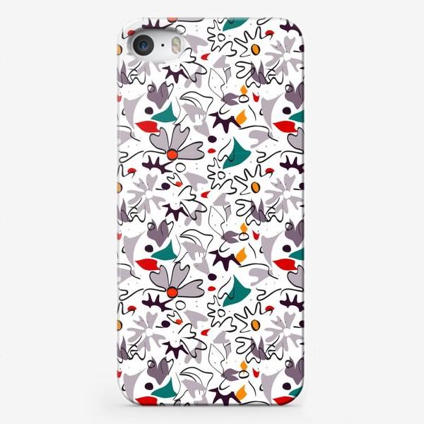 Чехол iPhone «Абстрактный геометрический разноцветный узор с пастельными лепестками, цветами и формами»
