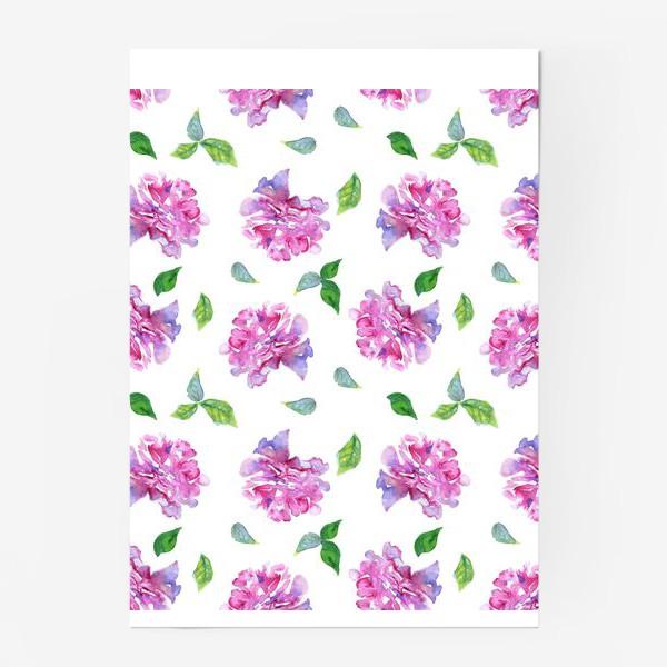 Постер «Акварельные нежные фиолетоавые цветы Пионы и листья на белом фоне»